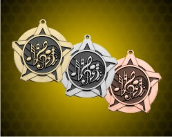 2 1/4 inch Music Super Star Medals