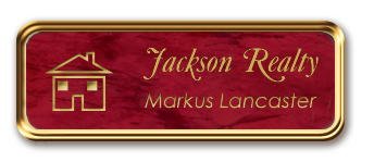 Rose Gold Metal Framed Nametag with Port Wine and Gold