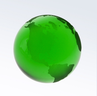 3 Inch Green World Globe Optic Crystal Paperweight