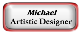 Metal Name Tag: White with Epoxy and Shiny Red Metal Border