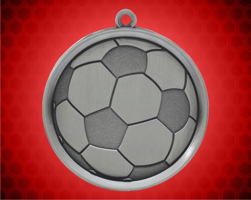 2 1/4 inch Silver Soccer Mega Medal