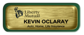 Metal Name Tag: Brushed Gold with Epoxy and Green Metal Border