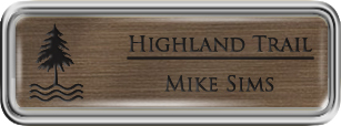 Framed Name Tag: Silver Plastic (rounded corners) - Deep Bronze and Black Plastic Insert with Epoxy