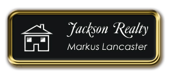Gold Metal Framed Nametag with Black and White
