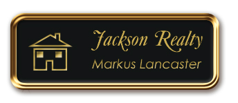 Rose Gold Metal Framed Nametag with Black and Gold