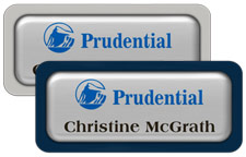 Shiny Silver Metal Name Tags with Plastic Borders and Epoxy