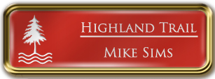 Framed Name Tag: Gold Metal (rounded corners) - Crimson and White Plastic Insert with Epoxy
