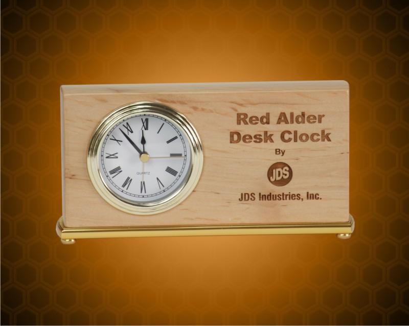 4 x 7 1/2 inch Red Alder Horizontal Desk Clock