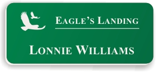 Smooth Plastic Name Tag: Kelley Green with White Plastic - LM922-932