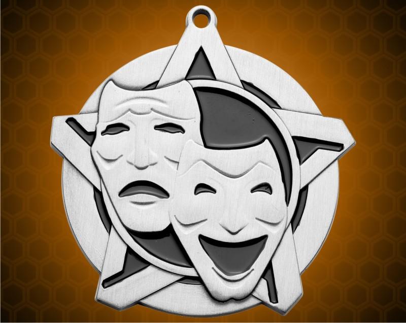 2 1/4 inch Silver Drama Super Star Medal