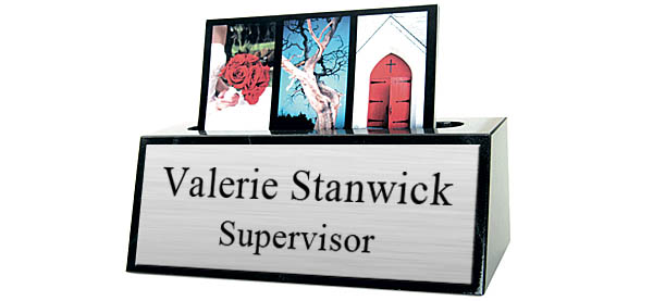 Black Marble Card Holder Small Desk Name Plate - Brushed Silver Metal Plate