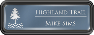 Framed Name Tag: Black Plastic (rounded corners) - China Blue and White Plastic Insert with Epoxy