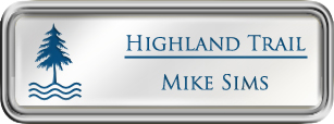 Framed Name Tag: Silver Plastic (rounded corners) - White and Sky Blue Plastic Insert with Epoxy