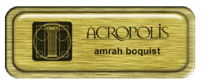 Metal Name Tag: Brushed Gold with Epoxy and Brushed Gold Metal Border