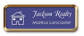 Rose Gold Metal Framed Nametag with a Purple and White