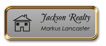 Rose Gold Metal Framed Nametag with Smooth Silver and Black