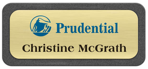 Metal Name Tag: Brushed Gold Metal Name Tag with a Graphite Plastic Border