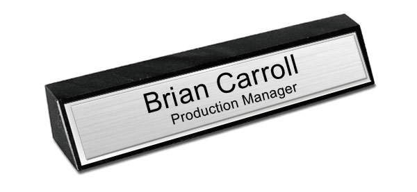 Black Marble Desk Name Plate - Brushed Silver Metal Plate with Shiny Silver Border