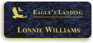 Smooth Plastic Name Tag: Celestial Blue with Gold - 922-577