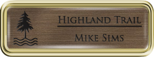 Framed Name Tag: Gold Plastic (rounded corners) - Deep Bronze and Black Plastic Insert with Epoxy