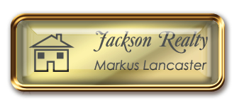 Framed Name Tag: Rose Gold Metal (rounded corners) - Shiny Gold and Black Plastic Insert with Epoxy