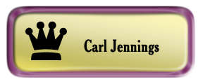 Metal Name Tag: Shiny Gold with Shiny Purple Metal Border