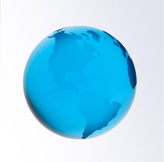 3 Inch Blue World Globe Optic Crystal Paperweight