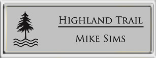 Framed Name Tag: Silver Plastic (squared corners) - Smooth Silver and Black Plastic Insert