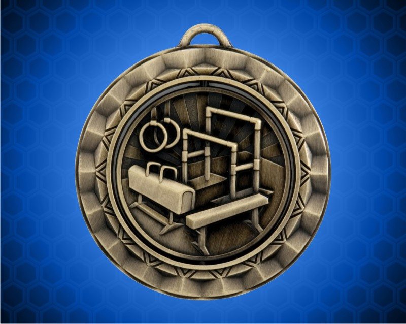 2 5/16 inch Gold Gymnastics Spinner Medal