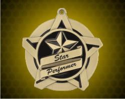 2 1/4 inch Gold Star Performer Super Star Medal