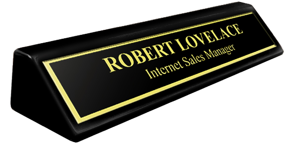 "Black Metal Name Plate with Gold Engraving and Shiny Gold Border on an 8"" Black Piano Finish Deskplate"