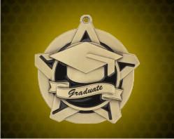 2 1/4 inch Gold Graduate Super Star Medal
