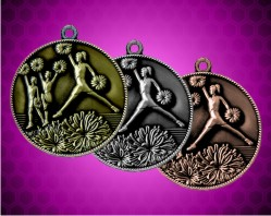 2 Inch Cheerleader Die Cast Medal
