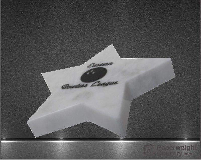 3/4 x 5 x 5 Inch White Marble Star Paperweight