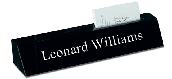 Black Marble Desk Plate with Card Holder - White Engraving