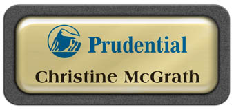Metal Name Tag: Shiny Gold Metal Name Tag with a Graphite Plastic Border and Epoxy