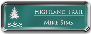 Framed Name Tag: Silver Metal (rounded corners) - Celadon Green and White Plastic Insert with Epoxy