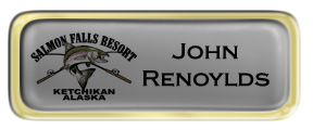 Metal Name Tag: Shiny Silver with Epoxy and Shiny Gold Metal Border