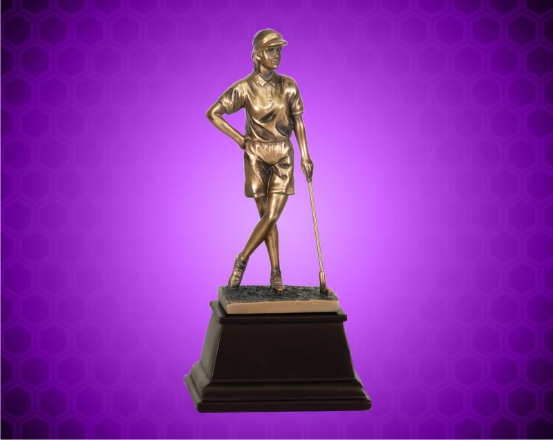 9 Inch Bronze Female Golf Resin Award