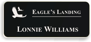 Smooth Plastic Name Tag: Black with White - LM922-402