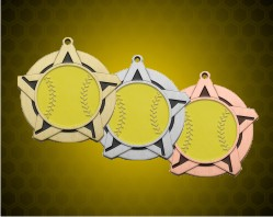 2 1/4 inch Softball Super Star Medals