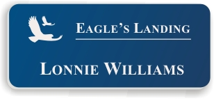 Smooth Plastic Name Tag: Sky Blue with White - LM922-512