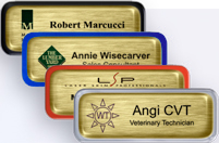 Brushed Gold Nametags with Epoxy and a Border