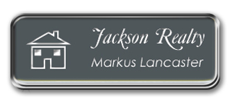 Framed Name Tag: Silver Metal (rounded corners) - Smoke Grey and White Plastic Insert with Epoxy