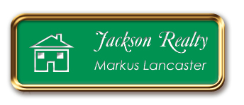 Rose Gold Metal Framed Nametag with Kelley Green and White
