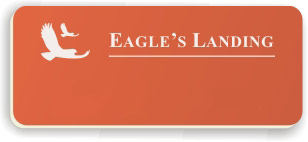Blank Smooth Plastic Name Tag with Logo: Tangerine and White - LM 922-612