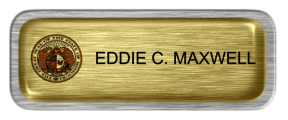 Metal Name Tag: Brushed Gold with Epoxy and Brushed Silver Metal Border