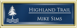 Framed Name Tag: Gold Plastic (squared corners) - Patriot Blue and White Plastic Insert with Epoxy