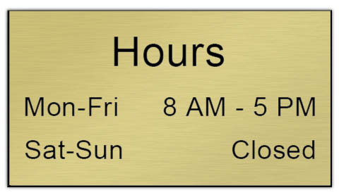 Smooth Plastic Sign: Shiny Gold with Black - LM922-734