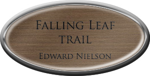 Framed Name Tag: Silver Plastic (Oval) - Deep Bronze and Black Plastic Insert with Epoxy